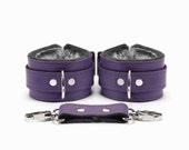 Bdsm Leather Restraints Bondage 2'' Grey Cuffs