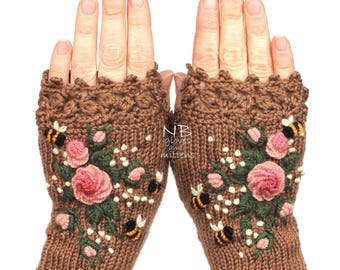 Knitted Fingerless Gloves, Cappuccino Brown, Roses, Rose, Pastel Pink, Bees, Clothing And Accessories, Gloves & Mittens, Gift Ideas, For Her