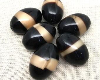 8 Vintage Dark Brown Caramel Oval Glass Beads 18mm