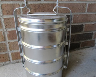 Rustic Aluminum Tin Storage / Tin Can Lunch Box /  Metal Lunch Caddy / Vintage Stackable Tins / Antique Lunch Box / Miners Metal Lunch Box