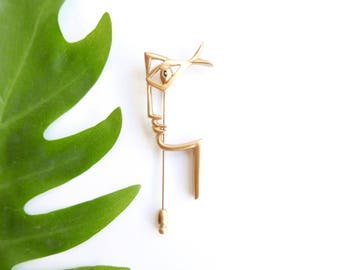 """French vintage brooch """"profil with fish eye"""" by JEAN COCTEAU / art, sculpture, artist jewelry"""