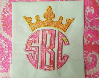 Crown Monogram Topper Princess Prince Applique Design File for Embroidery Machine Applique Instant Download King Queen