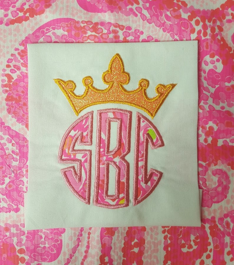 Crown monogram topper princess prince applique design file