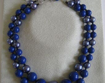 Blue bead necklace, 1950s-60s vintage two-strand necklace, chunky cobalt choker, Japan