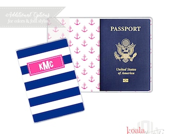 Personalized Passport Cover | Heavy Vinyl with Cardstock Insert | You Choose Colors & Personalization Style | US Passport | Anchors | Boater