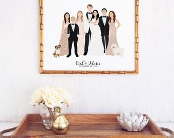 Illustrated Family Wedding Portrait Art Print Gift - Newlywed Gift - Gift for Bride - Gift for Groom