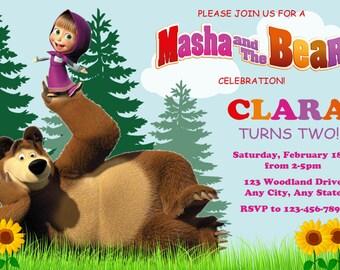 Masha and the Bear Invitation, Masha and the Bear Birthday, Masha and the Bear, Masha and the Bear Invite, Printable DIY Invitation, Girl