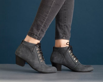 SALE!! Leather Boots, Ankle Boots, Lace-Up High Heel Boots, Handmade Boots // free shipping