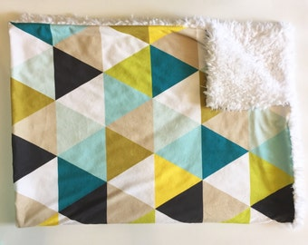 Mustard seed triangles baby blanket - faux fur minky - teal gray mint aqua citron olive - gender neutral nursery - boy baby shower gift