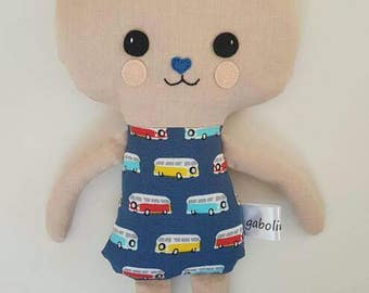 Boy bunny-Softy-Car pattern fabric-Rabbit-Animal toy-Present for Easter-Rag doll-Plush-Gift for babies-Softy-Cute-Sweet-Friend-Birthday-Boys