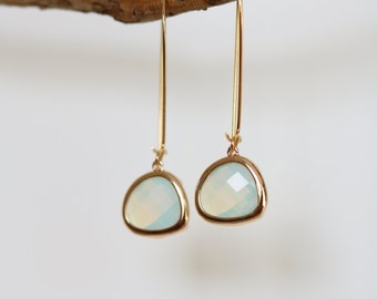 Moonstone Earrings - Gold Dangle Earrings - Stone Earrings - Drop Earrings - Birthstone Earrings - White Jewellery - Moonstone Jewelry
