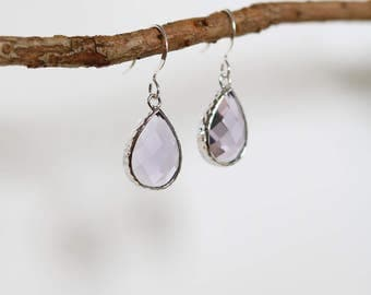 Light Amethyst Earrings - Silver Dangle - Earrings - Stone Earrings Drop Earrings Birthstone Earrings - Amethyst Earrings - Quartz Jewellery
