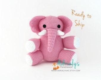 Crochet Elephant | Crochet Animals | Crochet Toy | Pink Elephant Nursery Decor | Elephant Baby Shower | Safari Animals | Ready to Ship