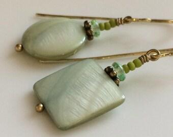 Light Green Earrings  Geometric Earrings  Mother of Pearl Earrings  Boho Earrings  Brass Earrings  Bohemian  Gypsy Dangles