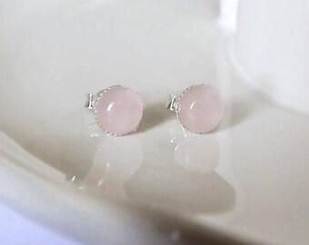 Rose Quartz Round  Stud Earrings, 6mm Sterling Silver Studs, Gemstone Studs, Pierced Ears, Rose Quartz Earrings, Sterling Silver Studs