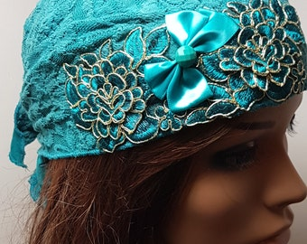 Turquoise Tichel , Turquoise Floral Head Scarf , Headwear , Snood , Chemo Cap , Head Wrap , Headscarves , Hair Covering , Women's Hats