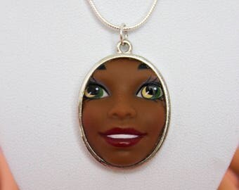 African American Smiling Barbie Doll Face Necklace | Dollfaced