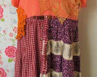Sunny Dreams Dress...Plus size dress/tunic made of repurposed materials