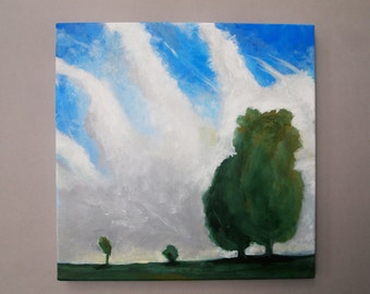 Dreamy Trees Original Painting Landscape Skyscape Blue Sky White Clouds Green Trees Square Canvas Art