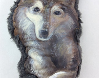 Giant Wolf Pillow. Painted Leather. Sensory Design
