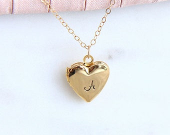 Locket Necklace, Heart Locket, Personalized Locket, Gold Heart Locket, Heart Necklace, Initial Heart Locket, Monogram Necklace, Gift for Her