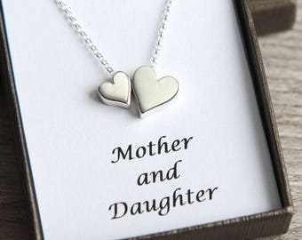 Mother Daughter Necklace, Mother and Daughter gift, Sterling Silver Heart Necklace, Gift for Mom, Gift for Daughter, To Mom from Daughter