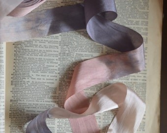 ombre pewter and mauve silk ribbon
