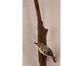 Brown Creeper - left facing. Handcrafted, carved  wooden bird, painted bird, home decor, wall decor, Made in USA