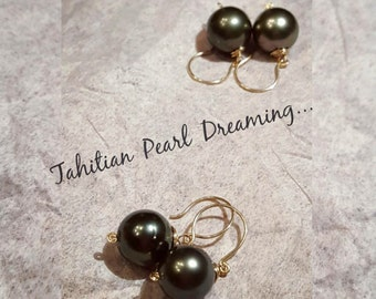 Classic Tahitian Pearl earrings on 14k GF handcrafted earwire