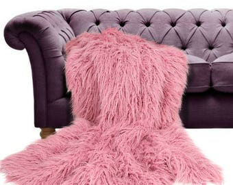 Plush Faux Fur Throw Blanket Bedspread - Mongolian Llama Shag - Light Pink Raspberry Rose - Fur Minky Cuddle Fur Lining - Fur Accents - USA