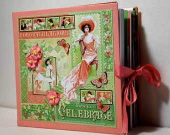 Handmade Scrapbook Photo Mini Album - Great Mother's Day Gift - Time to Celebrate, Ready to Ship, Places to Hold over 50 Family Photos