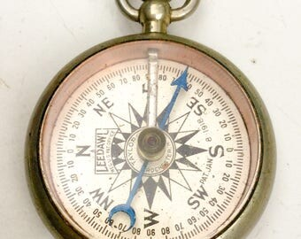 working antique COMPASS, leedawl compass, Pocket Compass, glass top, pocket watch fob, steampunk pendant