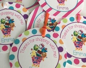 Birthday Favor Tags, 12 Shopkins Tags, Birthday Party Favor Tags, Birthday Favor Tags, Birthday Tags, Girl Favor Tags