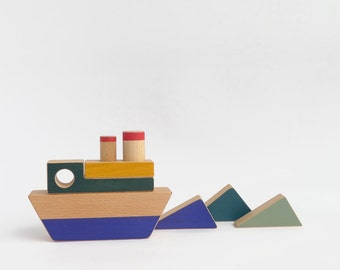 Stacking toy boat, wooden toy for toddlers