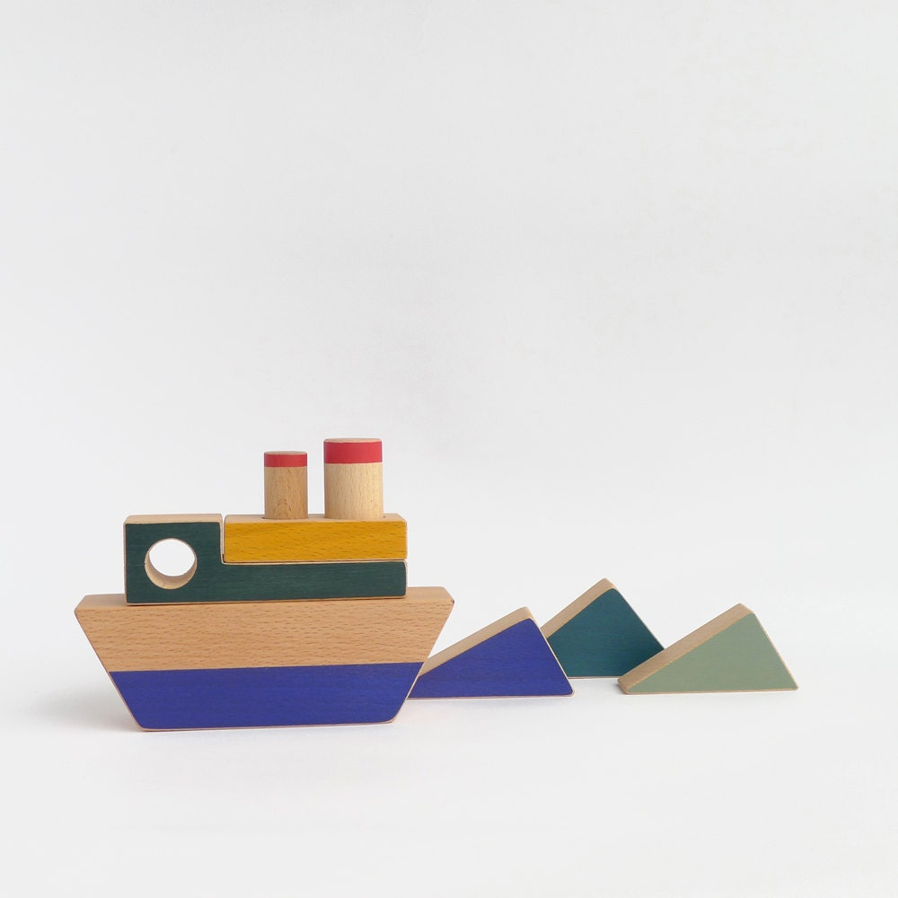 stacking toy boat wooden toy for toddlers