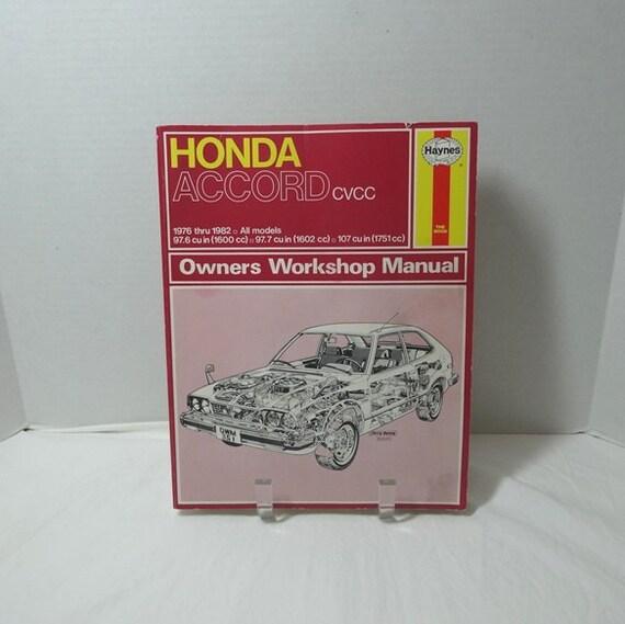 1976 to 1982 honda accord cvcc owner s workshop manual by rh etsy com Vehicle Manual Haynes Car Manuals UK