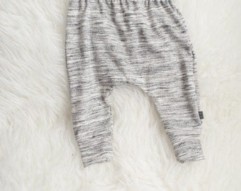 grey white black heathered harem pants by little lapsi. ready to ship. baby pants
