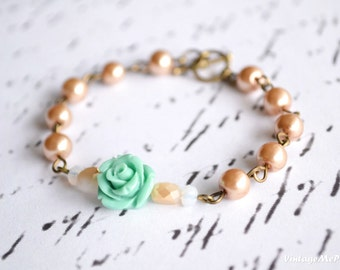 Flower Girl Bracelet, Childrens Gift, Bridesmaids Gift, Flower Bracelet, Infant Jewelry, Baby Girl Gift,  Flower Girl, Wedding Accessories