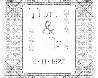 Wedding sampler blackwork pattern