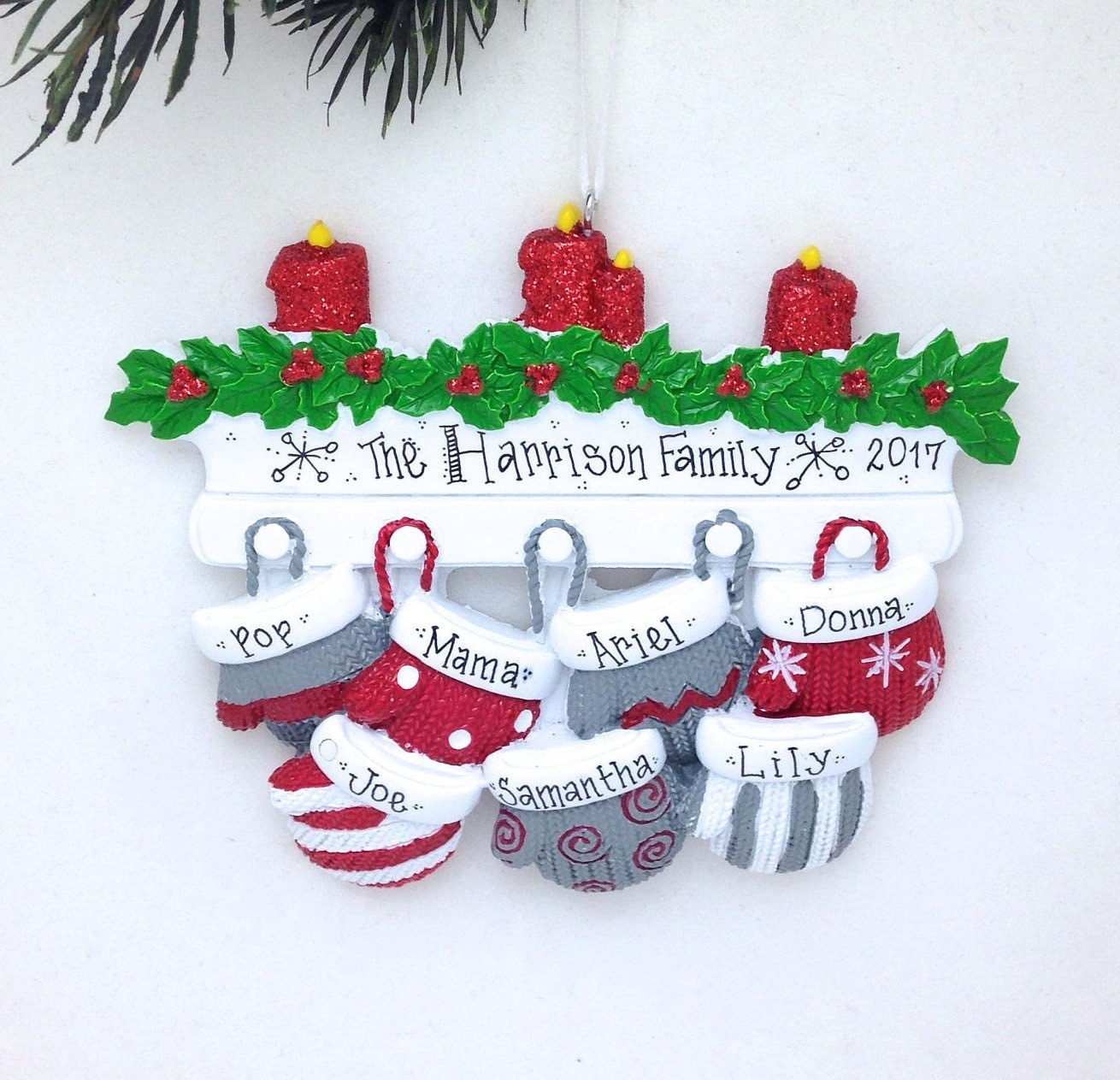 Blank ornaments to personalize - Free Shipping 7 Christmas Mittens Personalized Christmas Ornament Personalized Family Christmas Ornament Large Family