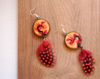 Cherry Blossom Earrings, Black and Red Earrings, Feather Earrings, Japanese Style Earrings, Hand Painted Cherry Blossoms, Wooden Earrings