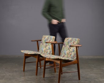 Pair of Small Mid Century Lounge Chairs Floral Fabric Danish Modern