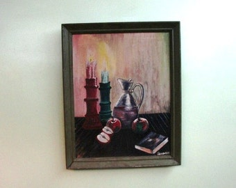 Vintage Acrylic Still Life from 40's  50's, Estate Sale Find, Signed Canvas, Wooden Frame