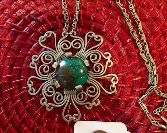 Lovely Chryscolla Peruvian Necklace / One of a Kind / Handcrafted Festival Piece