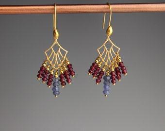 Garnet Earrings ~ Tanzanite Earrings ~ Gold earrings ~ Art Deco Jewelry - Valentines day jewelry ~ Garnet Jewelry ~ Tanzanite jewelry ~ Bird