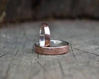 Alternative wedding ring bands, men wedding ring band, copper and sterling ring band, sterling rustic ring band, men ring, men sterling ring