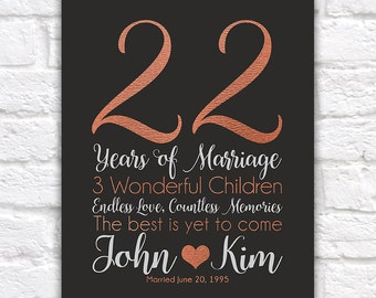 Personalized Anniversary Gifts 22 Years Copper Style Wife Wedding