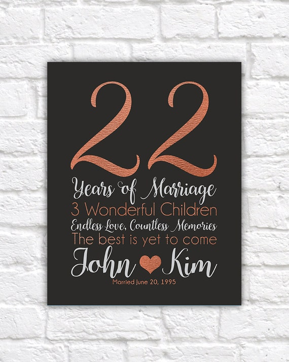 Personalized Anniversary Gifts 22 Years Copper Anniversary