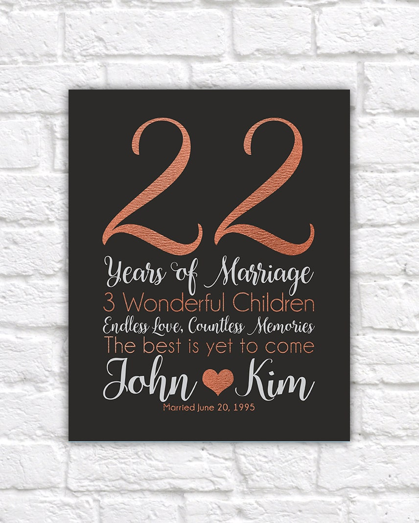 Personalized Anniversary Gifts 22 Years Copper