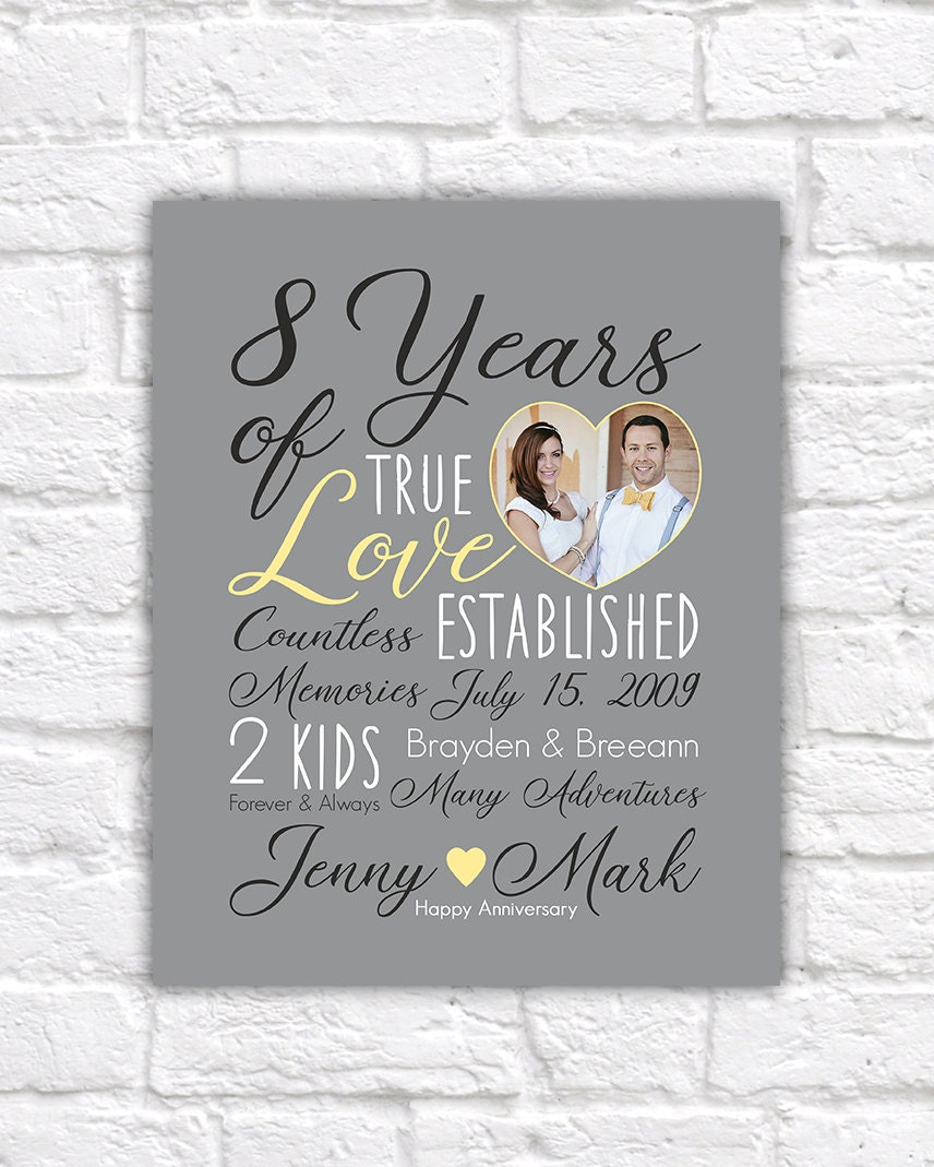 Wedding Anniversary Gifts By Year: Wedding Anniversary Gift Choose ANY YEAR 8th Anniversary 8